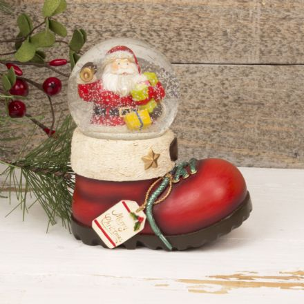 Merry Christmas Santa Claus in Boot Snow Globe ~ Glass Waterball